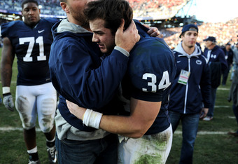 STATE COLLEGE, PA - NOVEMBER 12:  Nathan Stupar #34 of Penn State Nittany Lions reacts after his team lost, 17-14, to Nebraska Cornhuskers at Beaver Stadium on November 12, 2011 in State College, Pennsylvania. (Photo by Patrick Smith/Getty Images)