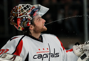 NEW YORK, NY - APRIL 28:  Braden Holtby #70 of the Washington Capitals reacts in the second period against the New York Rangers in Game One of the Eastern Conference Semifinals during the 2012 NHL Stanley Cup Playoffs at Madison Square Garden on April 28,