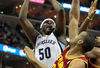 MEMPHIS, TN - APRIL 23:  Zach Randolph #33 of the Memphis Grizzlies shoots the ball during the NBA game against the Cleveland Cavaliers at FedExForum on April 23, 2012 in Memphis, Tennessee.  NOTE TO USER: User expressly acknowledges and agrees that, by d