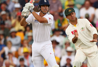 BRISBANE, AUSTRALIA - NOVEMBER 25: Alaistair Cook of England bats during day one of the First Ashes Test match between Australia and England at The Gabba on November 25, 2010 in Brisbane, Australia.  (Photo by Ryan Pierse/Getty Images)