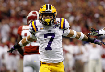 NEW ORLEANS, LA - JANUARY 09:  Tyrann Mathieu #7 of the Louisiana State University Tigers reacts after breaking up a play against the Alabama Crimson Tide during the 2012 Allstate BCS National Championship Game at Mercedes-Benz Superdome on January 9, 201
