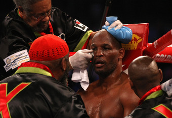ATLANTIC CITY, NJ - APRIL 28:  Bernard Hopkins is tended to in his corner by his team in between rounds against CHad Dawson during their WBC & Ring Magazine Light Heavyweight Title fight at Boardwalk Hall Arena on April 28, 2012 in Atlantic City, New Jers
