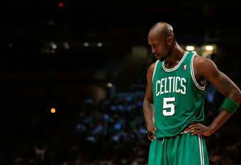 NEW YORK, NY - APRIL 17: Kevin Garnett #5 of the Boston Celtics looks on against the New York Knicks at Madison Square Garden on April 17, 2012 in New York City. NOTE TO USER: User expressly acknowledges and agrees that, by downloading and/or using this P