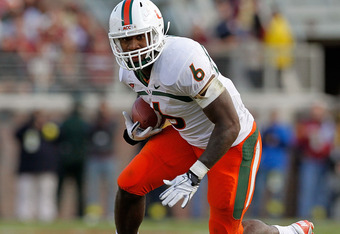 TALLAHASSEE, FL - NOVEMBER 12: Lamar Miller #6 of the Miami Hurricanes rushes during a game  against the Florida State Seminoles at Doak Campbell Stadium on November 12, 2011 in Tallahassee, Florida.  (Photo by Mike Ehrmann/Getty Images)