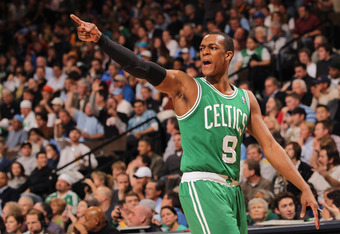 DENVER, CO - FEBRUARY 24:  Rajon Rondo #9 of the Boston Celtics reacts as his team faces the Denver Nuggets during NBA action at the Pepsi Center on February 24, 2011 in Denver, Colorado. NOTE TO USER: User expressly acknowledges and agrees that, by downl