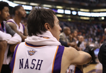 PHOENIX, AZ - APRIL 25:  Steve Nash #13 of the Phoenix Suns watches from the bench during the NBA game against the San Antonio Spurs at US Airways Center on April 25, 2012 in Phoenix, Arizona.  The Spurs defeated the Suns 110-106.  NOTE TO USER: User expr