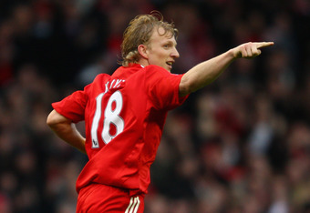 LIVERPOOL, UNITED KINGDOM - FEBRUARY 22:  Dirk Kuyt of Liverpool celebrates scoring his team's first goal during the Barclays Premier League match between Liverpool and Manchester City at Anfield on February 22, 2009 in Liverpool, England.  (Photo by Cliv