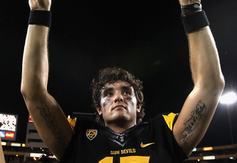 TEMPE, AZ - SEPTEMBER 09:  Quarterback Brock Osweiler #17 of the Arizona State Sun Devils celebrates after defeating the Missouri Tigers in the college football game at Sun Devil Stadium on September 9, 2011 in Tempe, Arizona. The Sun Devils defeated the