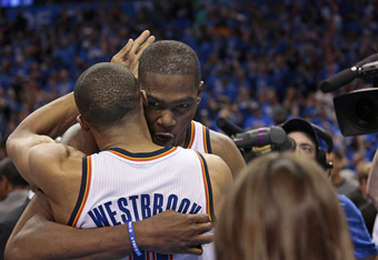 OKLAHOMA CITY, OK - APRIL 28: Kevin Durant #35 of the Oklahoma City Thunder celebrates with Russell Westbrook #0 of the Oklahoma City Thunder after beating the Dallas Mavericks in Game One of the Western Conference Quarterfinals in the 2012 NBA Playoffs o