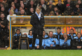 WOLVERHAMPTON, ENGLAND - APRIL 22:  Manchester City manager Roberto Mancini during the Barclays Premier League match between Wolverhampton Wanderers and Manchester City at Molineux on April 22, 2012 in Wolverhampton, England.  (Photo by Shaun Botterill/Ge