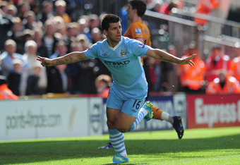 WOLVERHAMPTON, ENGLAND - APRIL 22:  Sergio Aguero of Manchester City celebrates after scoring during the Barclays Premier League match between Wolverhampton Wanderers and Manchester City at Molineux on April 22, 2012 in Wolverhampton, England.  (Photo by