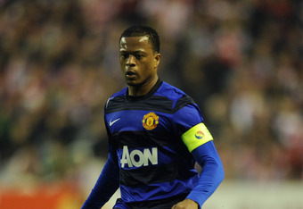 BILBAO, SPAIN - MARCH 15: Patrice Evra of Manchester United control the ball during the UEFA Europa League Round 16 second Leg match between Athletic Bilbao and Manchester United at the San Mames stadium on March 15, 2012 in Bilbao, Spain.  (Photo by Jasp