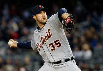 NEW YORK, NY - APRIL 27:  Justin Verlander #35 of the Detroit Tigers delivers a pitch in the first inning against the New York Yankees at Yankee Stadium on April 27, 2012 in the Bronx borough of New York City.  (Photo by Mike Stobe/Getty Images)