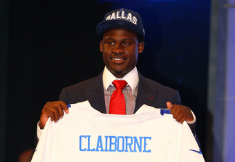 NEW YORK, NY - APRIL 26:  Morris Claiborne from LSU holds up a jersey as he stands on stage after he was selected #6 overall by the Dallas Cowboys in the first round of during the 2012 NFL Draft at Radio City Music Hall on April 26, 2012 in New York City.