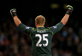 MANCHESTER, ENGLAND - APRIL 11:  Joe Hart of Manchester City celebrates during the Barclays Premier League match between Manchester City and West Bromwich Albion at the Etihad Stadium on April 11, 2012 in Manchester, England.  (Photo by Alex Livesey/Getty