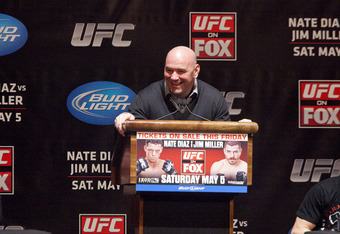 NEW YORK - MARCH 06:   UFC president Dana White (C) speaks at a press conference with lightweight contenders Nate Diaz (L) and Jim Miller (R) at Radio City Music Hall on March 06, 2012 in New York City.  UFC announced that their third event on the FOX net