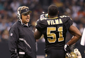 NEW ORLEANS, LA - OCTOBER 31: Defensive coordinator Gregg Williams of the New Orleans Saints talks to Jonathan Vilma #51 during the game against the Pittsburgh Steelers at the Louisiana Superdome on October 31, 2010 in New Orleans, Louisiana. (Photo by Ma