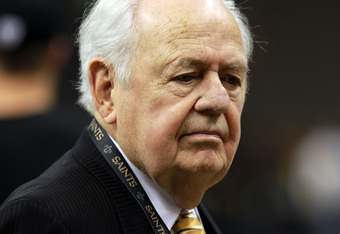 NEW ORLEANS, LA - JANUARY 07:  New Orleans Saints owner Tom Benson looks on prior to the 2012 NFC Wild Card Playoff game at Mercedes-Benz Superdome on January 7, 2012 in New Orleans, Louisiana.  (Photo by Ronald Martinez/Getty Images)