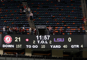 NEW ORLEANS, LA - JANUARY 09:  The final scoreboard is seen after the 2012 Allstate BCS National Championship Game at Mercedes-Benz Superdome on January 9, 2012 in New Orleans, Louisiana.  (Photo by Kevin C. Cox/Getty Images)
