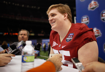 NEW ORLEANS, LA - JANUARY 06:  Barrett Jones #75 of the Alabama Crimson Tide talks to the media at the Mercedes-Benz Superdome on January 6, 2012 in New Orleans, Louisiana.  LSU and Alabama will play in the BCS National Championship on January 9th.  (Phot
