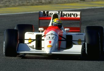 1992:  Ayrton Senna of Brazil in action in his McLaren Honda during the Portuguese Grand Prix at the Estoril circuit in Portugal. Senna finished in third place. \ Mandatory Credit: Pascal  Rondeau/Allsport