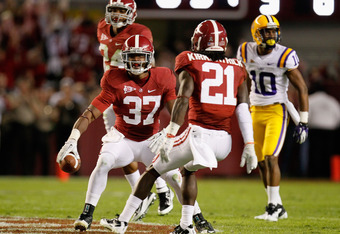 TUSCALOOSA, AL - NOVEMBER 05:  Robert Lester #37 of the Alabama Crimson Tide celebrates after an interception during the first quarter against the LSU Tigers at Bryant-Denny Stadium on November 5, 2011 in Tuscaloosa, Alabama.  (Photo by Kevin C. Cox/Getty