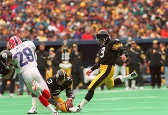 6 Jan 1996: Kicker Norm Johnson #9 of the Pittsburgh Steelers focuses on the ball just before impact on a field goal attempt during the Steelers 40-21 AFC Divisional Playoff victory over the Buffalo Bills at Three Rivers Stadium in Pittsburgh, Pennsylvani