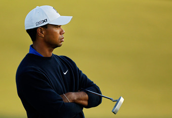 AUGUSTA, GA - APRIL 06:  Tiger Woods of the United States looks on from the 18th hole during the second round of the 2012 Masters Tournament at Augusta National Golf Club on April 6, 2012 in Augusta, Georgia.  (Photo by Streeter Lecka/Getty Images)