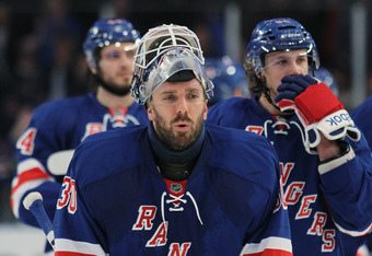 NEW YORK, NY - APRIL 28:  Henrik Lundqvist #30 of the New York Rangers reacts after their 3 to 1 win over the Washington Capitals in Game One of the Eastern Conference Semifinals during the 2012 NHL Stanley Cup Playoffs at Madison Square Garden on April 2