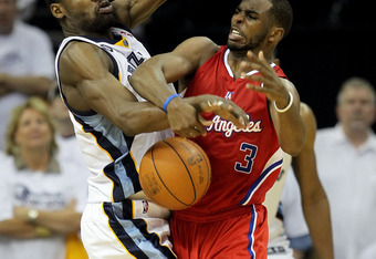 MEMPHIS, TN - APRIL 29:  Tony Allen #9 of the Memphis Grizzlies fouls Chris Paul #3 of the Los Angeles Clippers while going for a loose ball in Game One of the Western Conference Quarterfinals in the 2012 NBA Playoffs at FedExForum on April 29, 2012 in Me