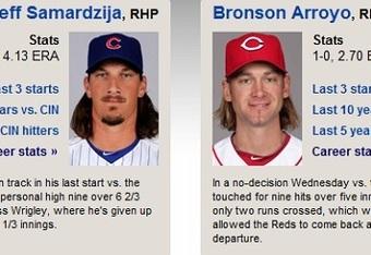 Whose hair is greater? Samardzija's or Arroyo's? (MLB.com)