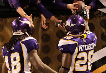 MINNEAPOLIS, MN - DECEMBER 05:  Adrian Peterson #28 of the Minnesota Vikings hands the ball to a fan alongside teammate Sidney Rice #18 after he rushed for a touchdown against the Buffalo Bills at the Mall of America Field at the Hubert H. Humphrey Metrod