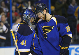 ST. LOUIS, MO - MARCH 8: Jaroslav Halak #41 and Alex Pietrangelo #27 both of the St. Louis Blues celebrate a victory over the Anaheim Ducks at the Scottrade Center  on March 8, 2012 in St. Louis, Missouri.  The Blues beat the Ducks 3-1.  (Photo by Dilip V