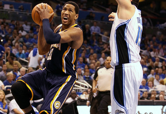 ORLANDO, FL - MAY 02: Forward Danny Granger #33 of the Indiana Pacers drives against Forward Hedo Turkoglu #15 of the Orlando Magic in Game Three of the Eastern Conference Quarterfinals in the 2012 NBA Playoffs at Amway Center on May 2, 2012 in Orlando, F