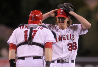 ANAHEIM, CA - MAY 02:  Starting pitcher Jered Weaver #36 of the Los Angeles Angels of Anaheim celebrates with catcher Chris Iannetta #17 after throwing a no hitter against the Minnesota Twins at Angel Stadium of Anaheim on May 2, 2012 in Anaheim, Californ