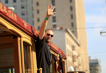 Aubrey Huff during happier times, at the Giants' victory parade