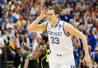 ATLANTA, GA - MARCH 25:  Kyle Wiltjer #33 of the Kentucky Wildcats celebrates a three-pointer ion the first half against the Baylor Bears during the 2012 NCAA Men's Basketball South Regional Final at the Georgia Dome on March 25, 2012 in Atlanta, Georgia.