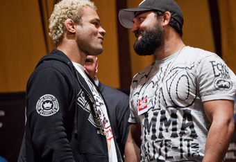 NEW YORK - MARCH 06:   UFC welterwights Josh Koscheck (L) and  Johny Hendricks (R) pose at a press conference at Radio City Music Hall on March 06, 2012 in New York City.  UFC announced that their third event on the FOX network will take place on Saturday