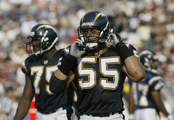 SAN DIEGO, CA - NOVEMBER 17:  Linebacker Junior Seau #55 of the San Diego Chargers stands on the field during the NFL game against the San Francisco 49ers at Qualcomm Stadium on November 17, 2002 in San Diego, California. The Chargers won in overtime 20-1