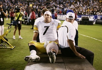 SAN DIEGO - OCTOBER 10:  Quarterback Ben Roethlisberger #7 of the Pittsburgh Steelers is carted off the field against the San Diego Chargers at Qualcomm Stadium on October 10, 2005 in San Diego, California. The Steelers defeated the Chargers 24-22.  (Phot