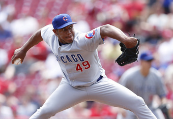 Marmol delivering a pitch vs. the Reds on May 3rd, 2012