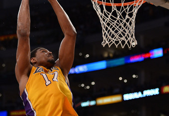 LOS ANGELES, CA - MAY 01:  Andrew Bynum #17 of the Los Angeles Lakers dunks against the Denver Nuggets during Game Two of the Western Conference Quarterfinals in the 2012 NBA Playoffs at Staples Center on May 1, 2012 in Los Angeles, California.  NOTE TO U