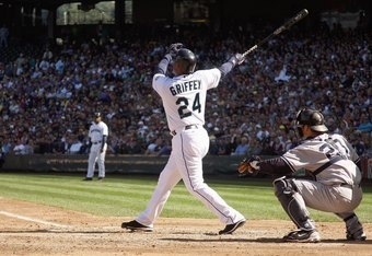 SEATTLE - SEPTEMBER 20:  Ken Griffey Jr #24 of the Seattle Mariners makes a hit during the game against the New York Yankees on September 20, 2009 at Safeco Field in Seattle, Washington. (Photo by Otto Greule Jr/Getty Images)
