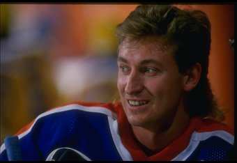 Nov 1987:  Center Wayne Gretzky of the Edmonton Oilers looks on during a game against the Los Angeles Kings at the Forum in Inglewood, California. Mandatory Credit: ALLSPORT USA  /Allsport