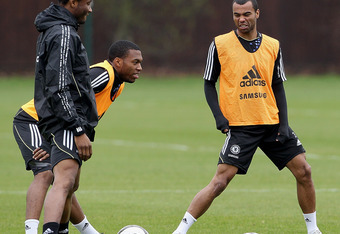 COBHAM, ENGLAND - MAY 04:  (L-R)  John Mikel Obi, Daniel Sturridge and Ashley Cole of Chelsea during a training session ahead of their FA Cup Final match against Liverpool at the club's Cobham training ground, on May 4, 2012 in Cobham, England. (Photo by