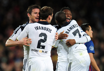 BARCELONA, SPAIN - APRIL 24:  Frank Lampard , Branislav Ivanovic , Ramires and John Obi Mikel of Chelsea celebrate victory during the UEFA Champions League Semi Final, second leg match between FC Barcelona and Chelsea FC at Camp Nou on April 24, 2012 in B
