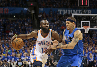 OKLAHOMA CITY, OK - APRIL 28:  James Harden #13 of the Oklahoma City Thunder tries to drive on Delonte West #13 of the Dallas Mavericks in Game One of the Western Conference Quarterfinals in the 2012 NBA Playoffs on April 28, 2012 at the Chesapeake Energy