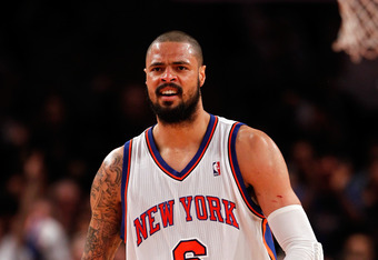 NEW YORK, NY - MAY 03:  Tyson Chandler #6 of the New York Knicks reacts against the Miami Heat in Game Three of the Eastern Conference Quarterfinals in the 2012 NBA Playoffs on May 3, 2012 at Madison Square Garden in New York City.  NOTE TO USER: User exp