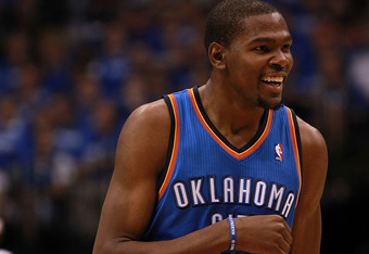 DALLAS, TX - MAY 03:  Kevin Durant #35 of the Oklahoma City Thunder reacts against the Dallas Mavericks during Game Three of the Western Conference Quarterfinal at American Airlines Center on May 3, 2012 in Dallas, Texas.  NOTE TO USER: User expressly ack