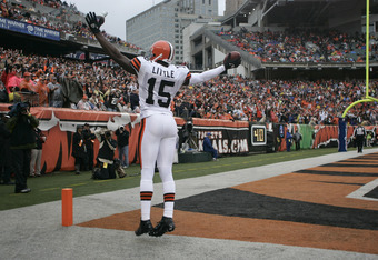 CINCINNATI, OH - NOVEMBER 27:  Greg Little #15 of the Cleveland Browns celebrates a touchdown during the game against the Cincinnati Bengals at Paul Brown Stadium on November 27, 2011 in Cincinnati, Ohio.  The Bengals defeated the Browns 23-20.  (Photo by
